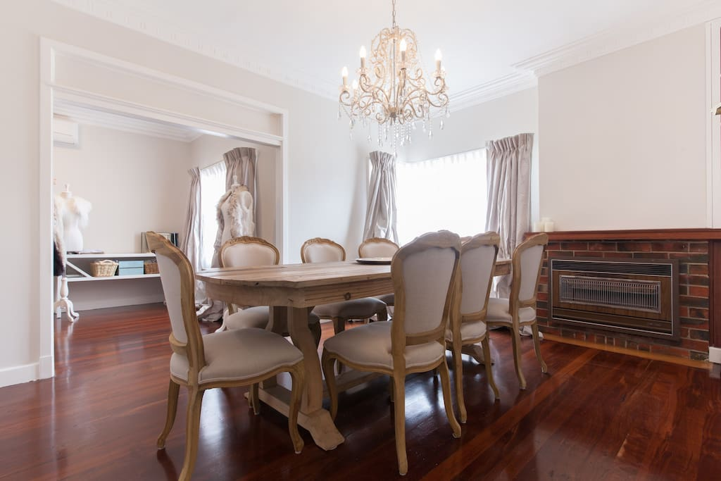 Large open dining area with antique salvaged Oak dining setting. Air conditioned and gas heating