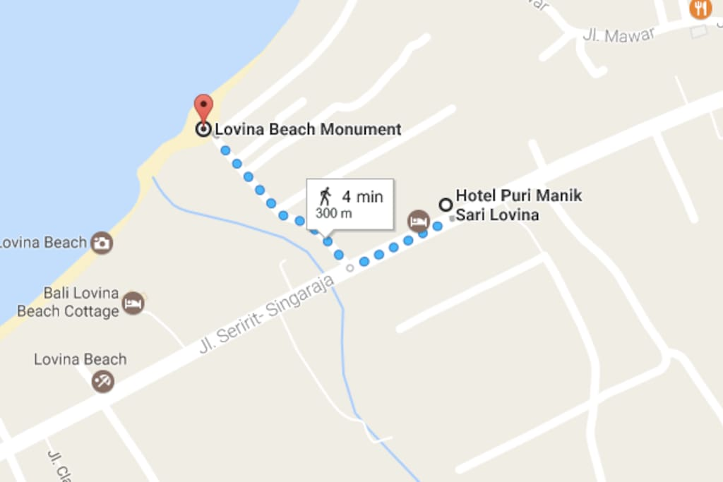 Just 4 min walking to The Lovina Beach