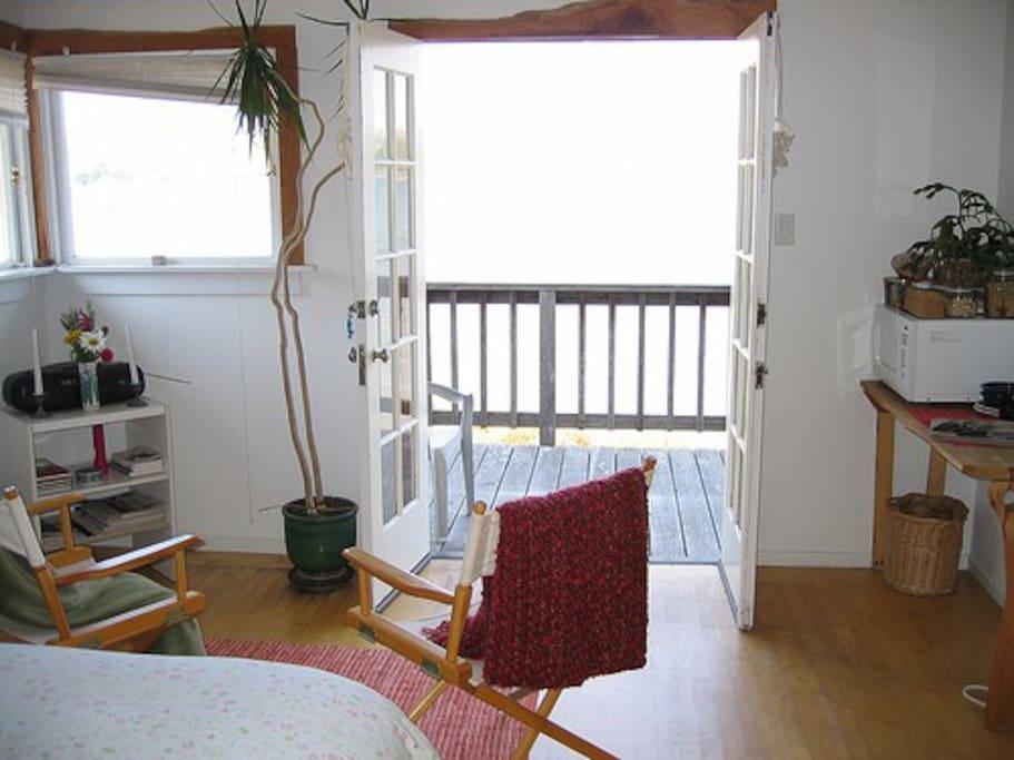 Bedroom overlooking Tomales Bay.