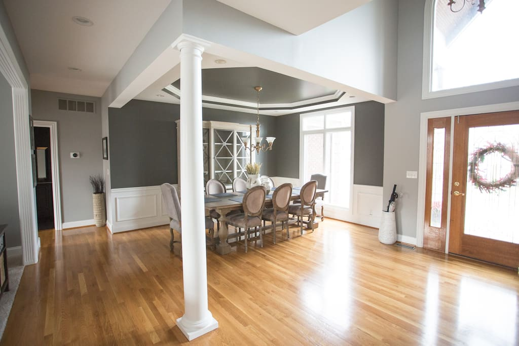 Spacious Foyer with 8 Person Dinning Room.