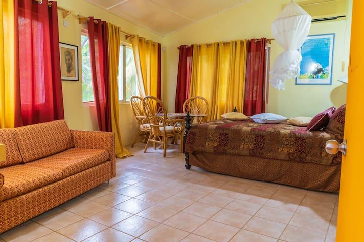The master bedroom suite w/ mosquito net