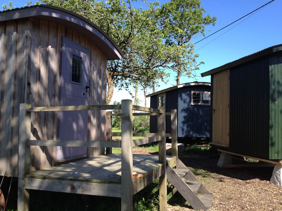Bedroom, shower room and breakfast huts