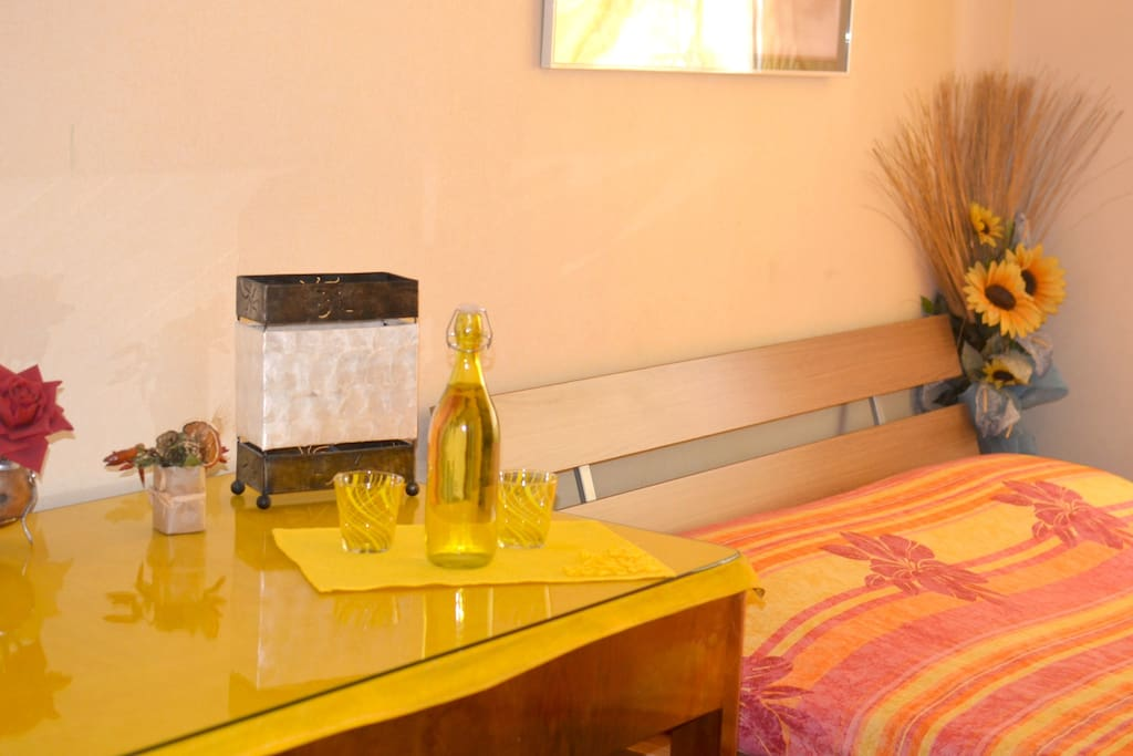 this is the wide, nice yellow room! double bed, a sofa, wide window, cozy and nice!