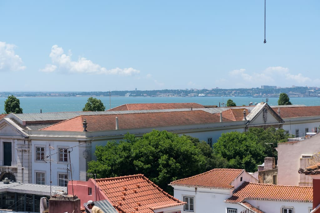 The amazing view: Alfama and the Tagus River at your feet