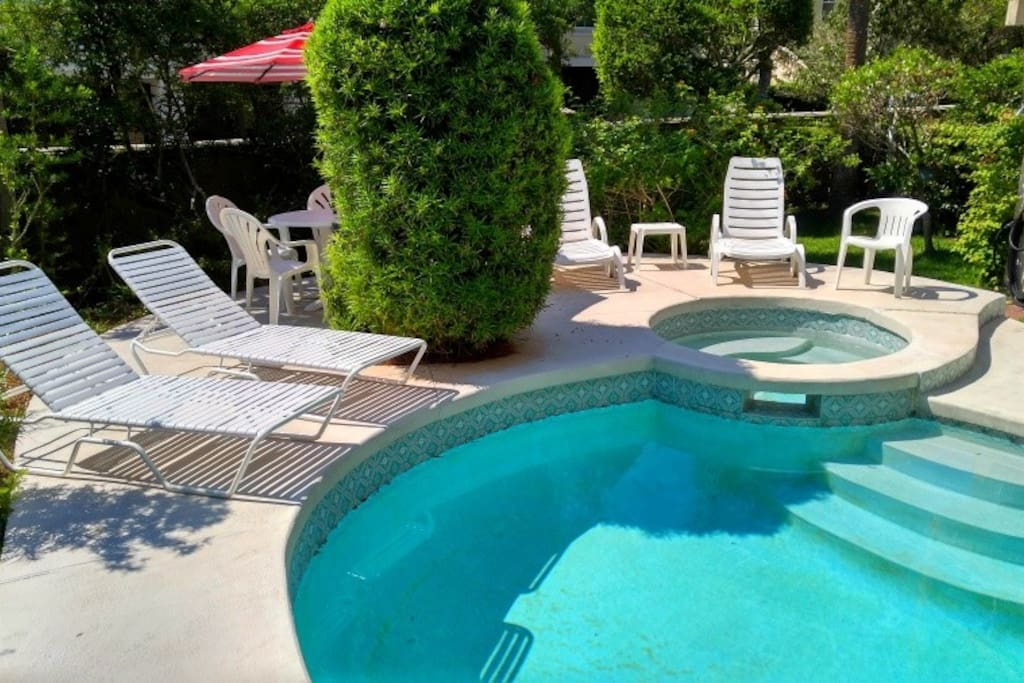 Your very own private pool with deck area equipped with table, chair and lounges