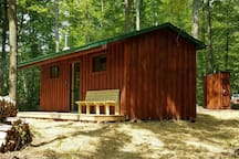 Cabin and outhouse