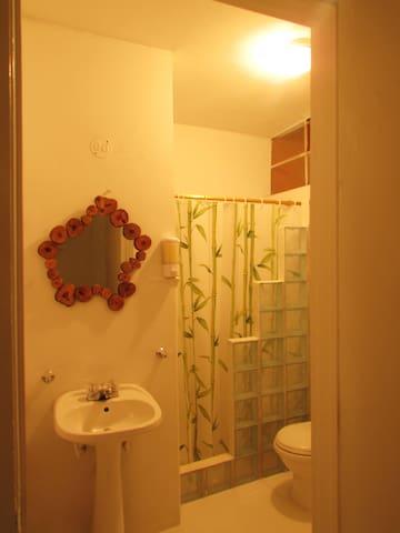 Baño compartido debidamiente equipado con agua caliente, espejo, jabón y papel sanitario.