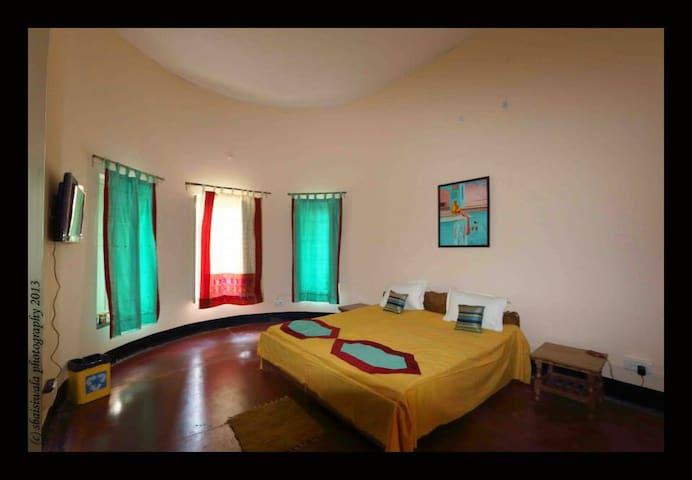 Asha room with large windows
