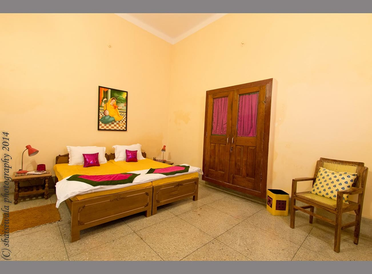 Mira room - double bed AC room with ensuite bath. There is power back-up - a must in Varanasi.