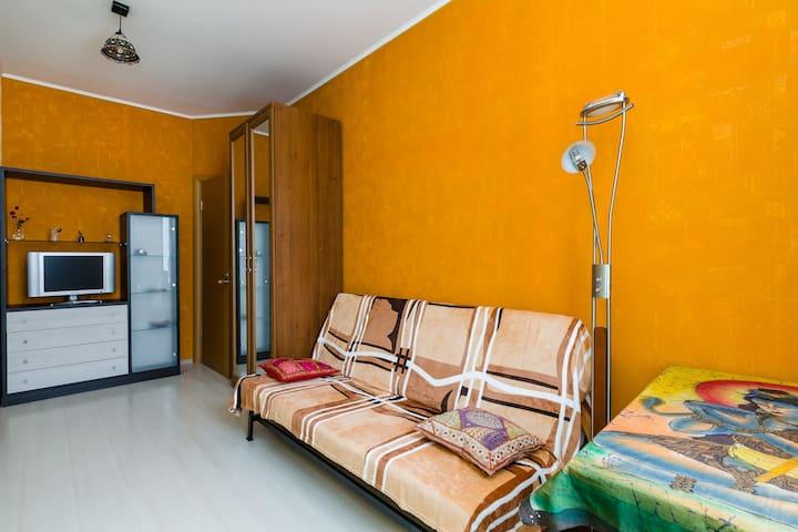Комната с двуспальным диваном и телевизором