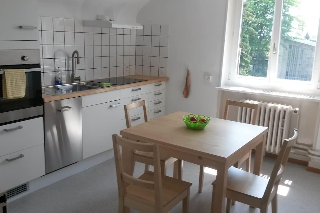 Küche mit Keramikkochfeld, Backofen, Geschirrwaschmaschine, Kühlschrank