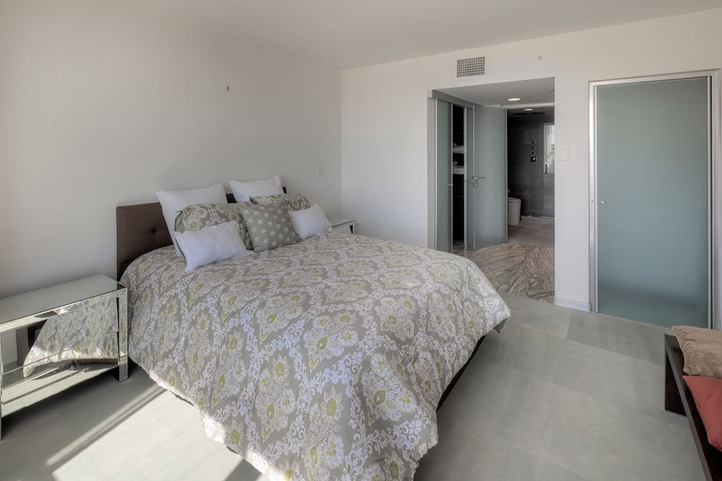 Master bedroom, queen bed, 2 walk-in closets and modern waterfall shower plus wall jets.