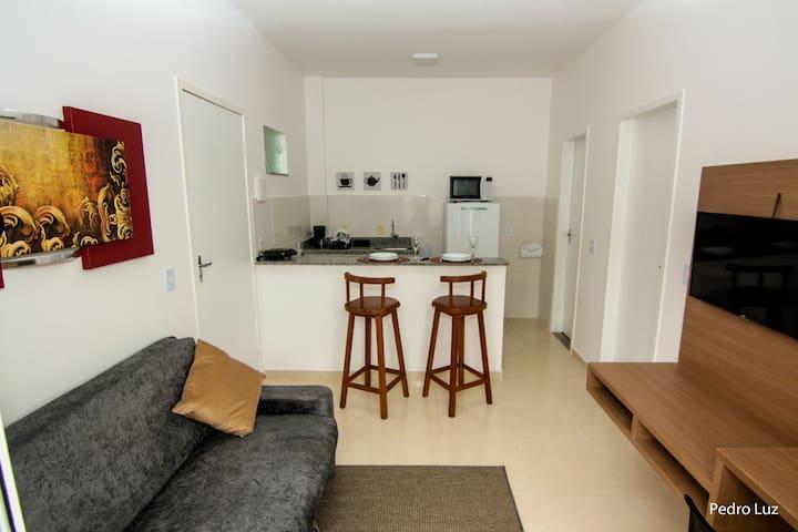Sala integrada com cozinha americana.