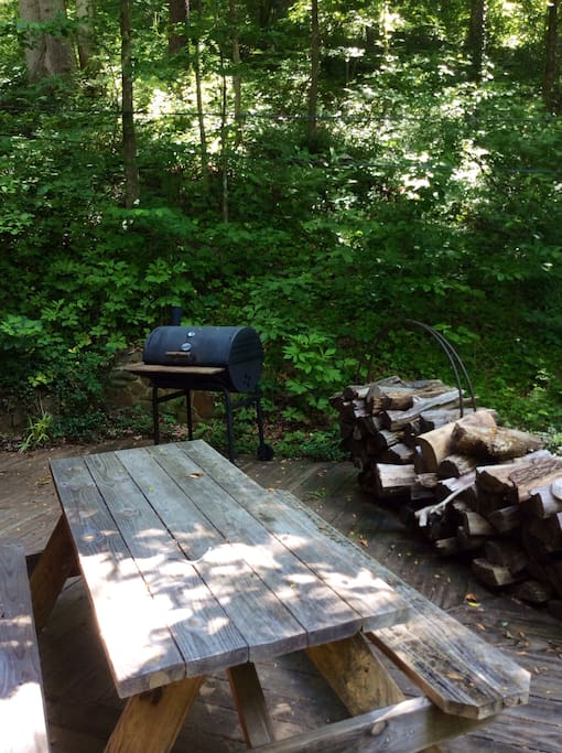 Front patio w/picnic table and charcoal grill