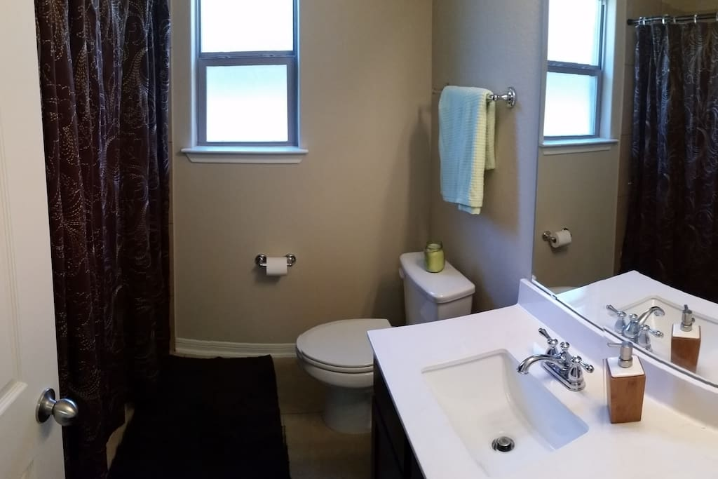 This is the guest bathroom guests will get to use. It is right next to the guest bedroom.