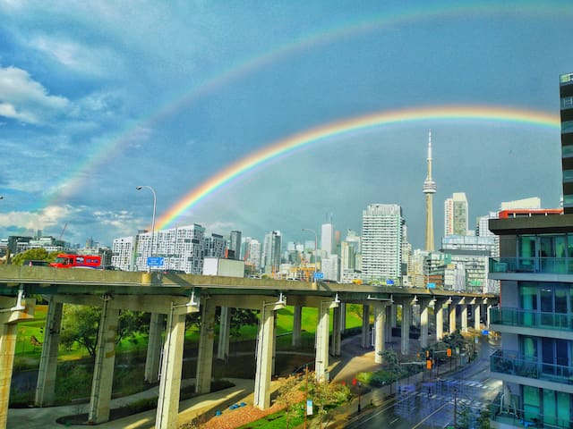 Rare double rainbow view from inside the condo!