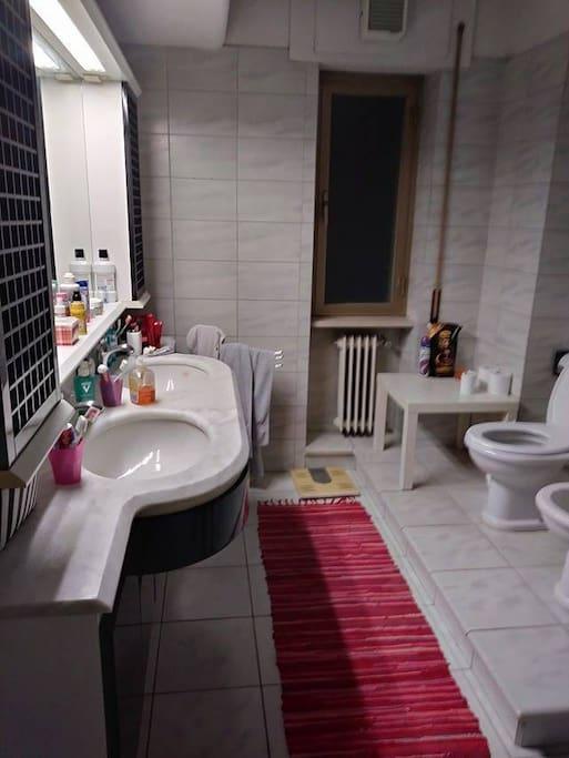 Bagno grande con doppio lavello,ampio specchio, servizi e ampia vasca.