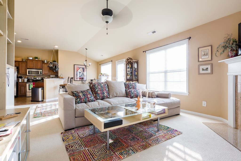 High ceilings, airy, and comfy.