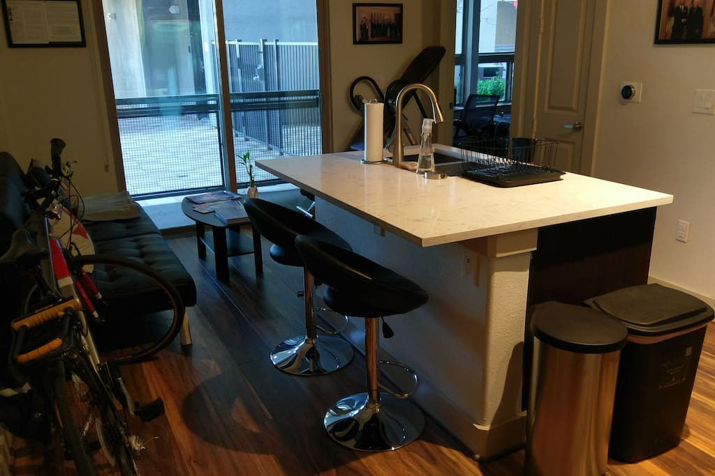Bar style seating with large central island.