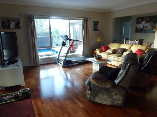 Looking out over the Swimming Pool from the Family room