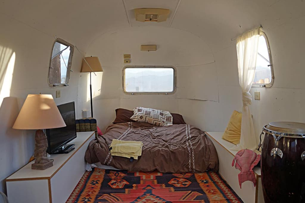 Inside of Airstream showing double bed