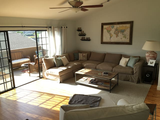 Living room with sliding doors to an outdoor patio