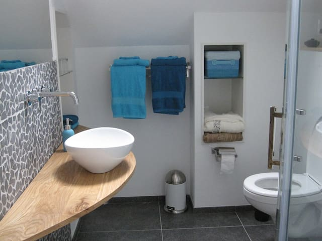 All modern conveniences in the 2nd floor bathroom. Note: due to Covid-19 this room is locked to ensure single use of the full appartment.