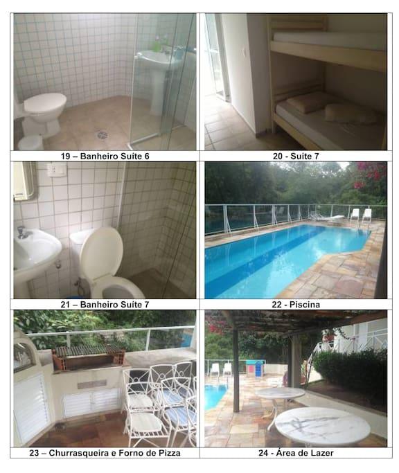 Suítes, banheiros, piscinas, churrasqueira e área de lazer.