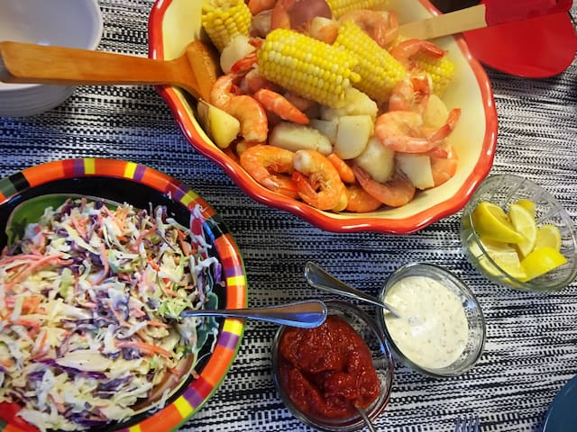 Shrimp boil and seafood galore