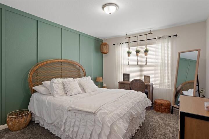 Bedroom 3 - Queen size bed - Work Desk - Full length mirror - BOHO inspired decor