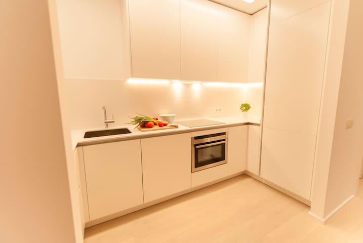 Open modern kitchen, fully equipped