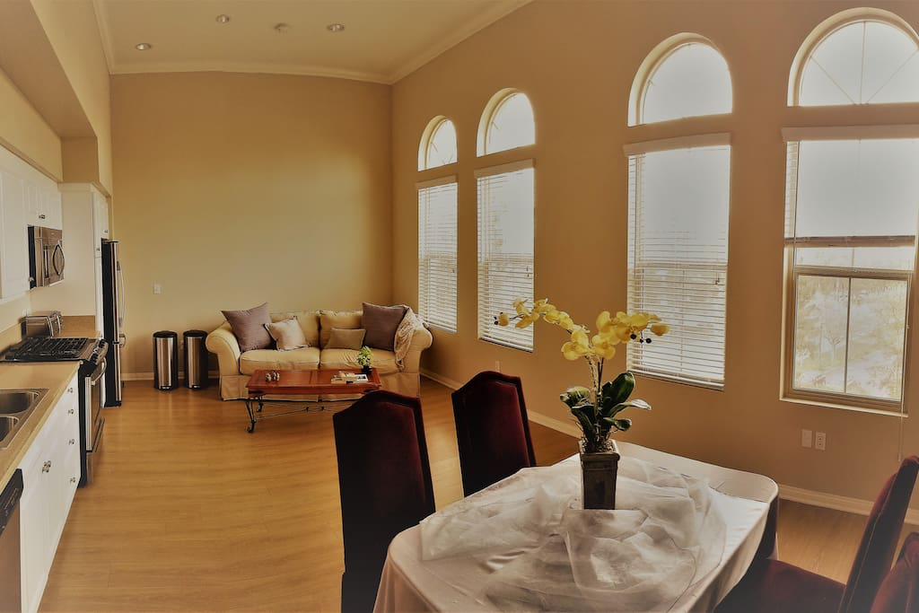The lounge has 15 foot ceilings and lots of sunlight in the huge windows!