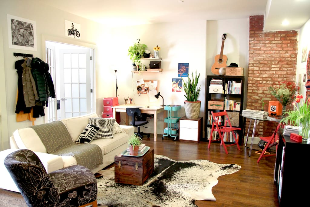 Living room is comfy and a great place to relax after a long day exploring new york.