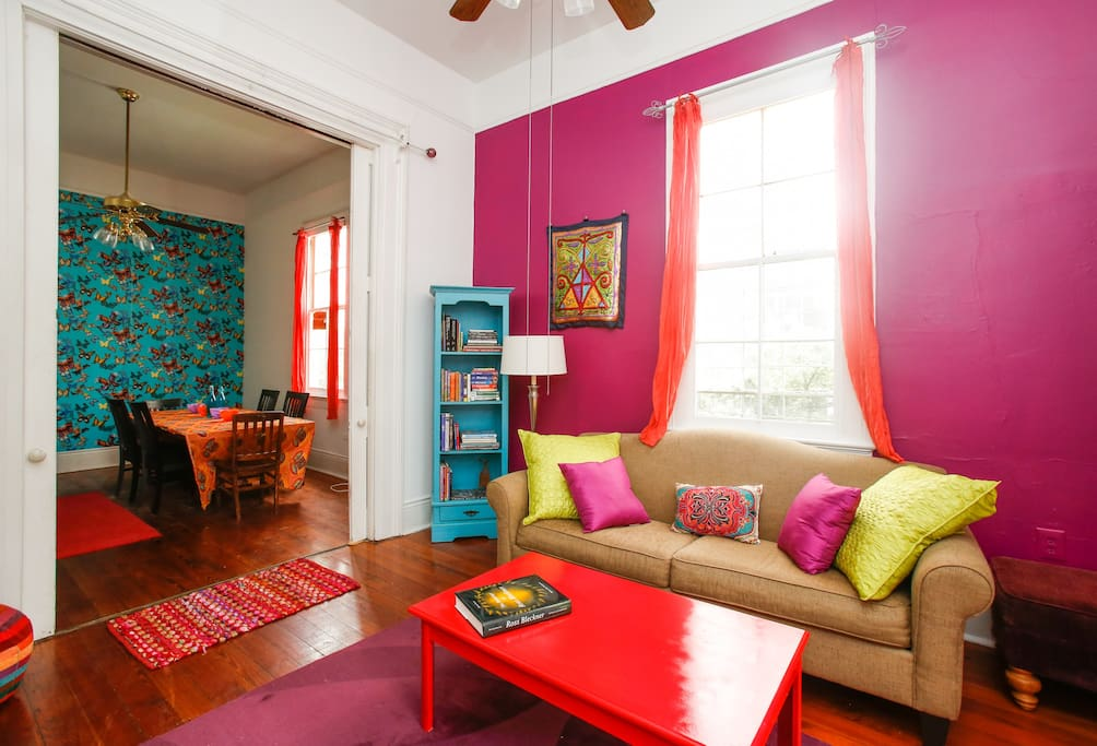 Chill in the air conditioned living room..put your feet up and browse through the many books on art, travel and New Orleans