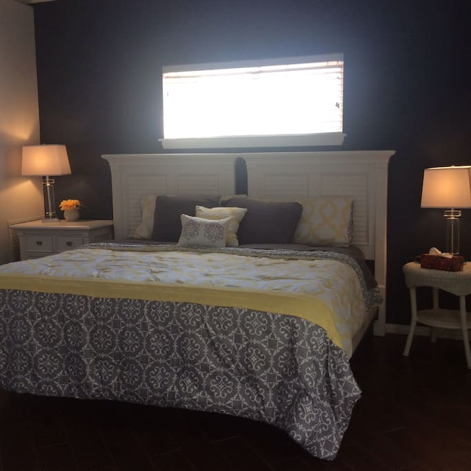 The king size bed in second bedroom