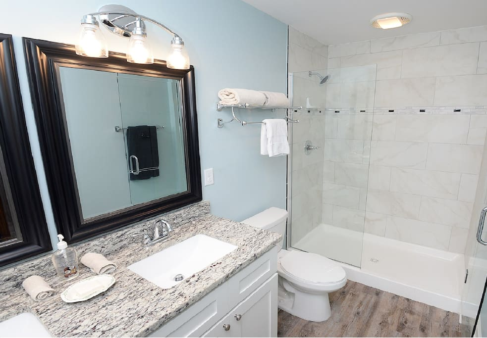 The Master Bath features granite and a large shower
