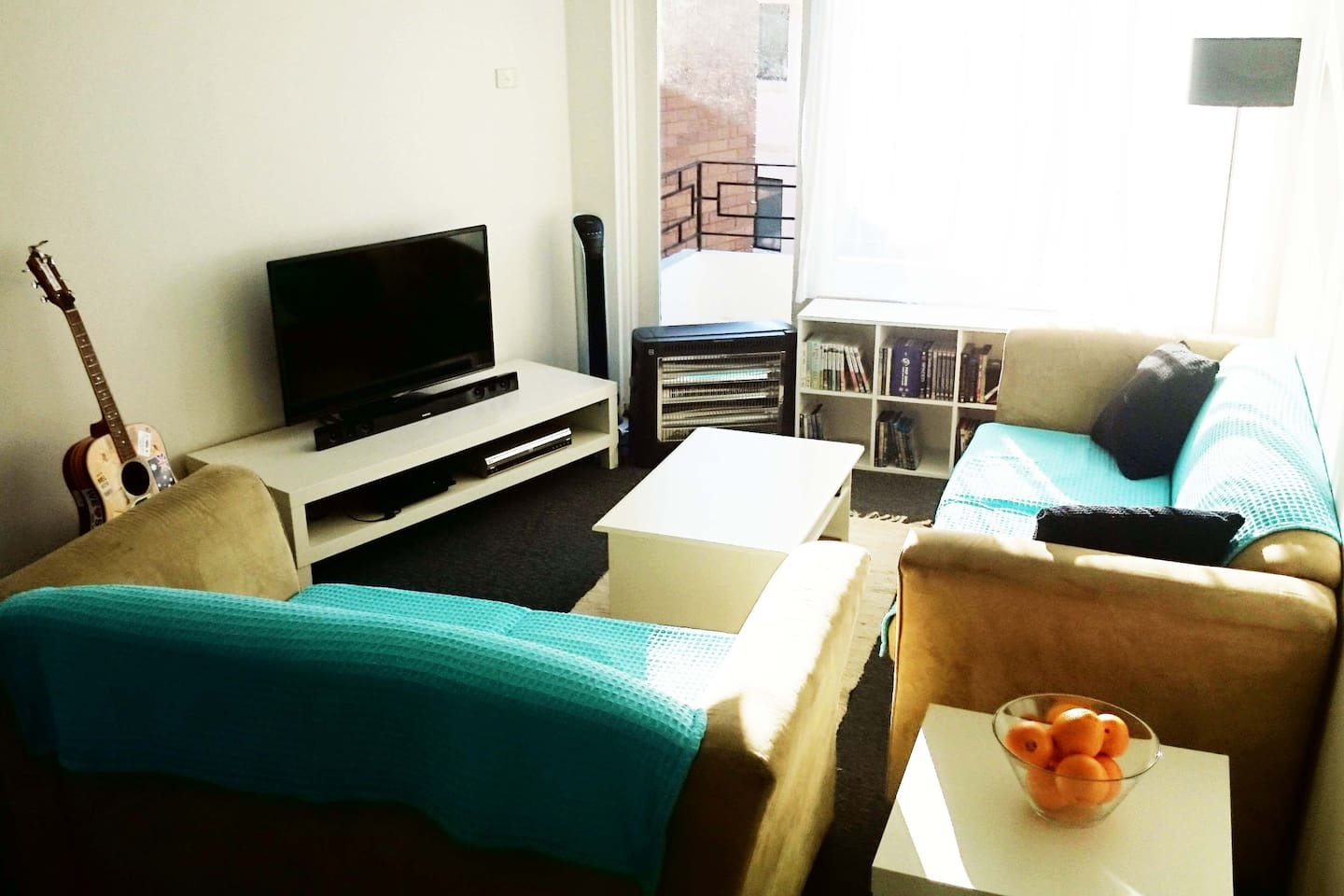Comfy sitting room with 3 seater and 2 seater sofas. Large TV, DVD player and wireless speakers for music.