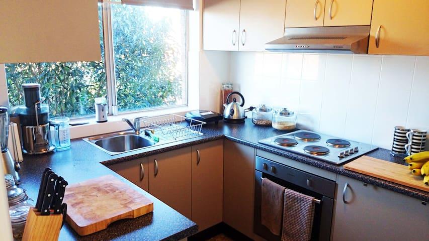 Modern kitchen, lots of storage and appliances.