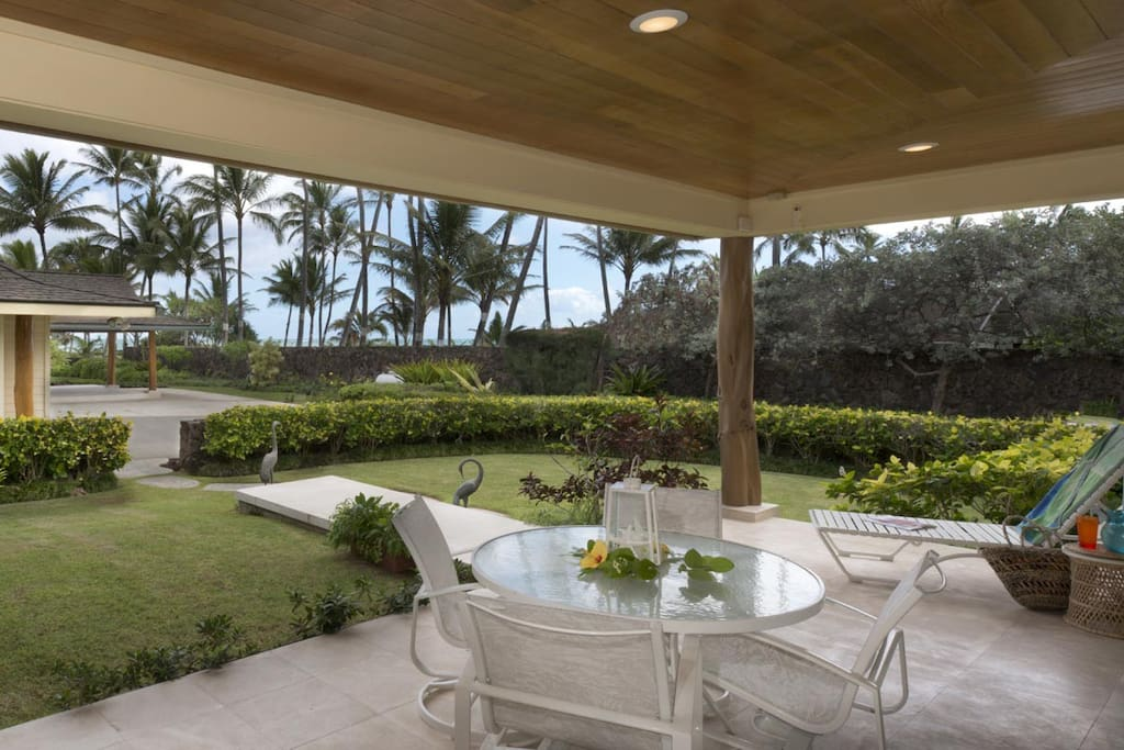 Enjoy a meal on your private lanai outside your home.