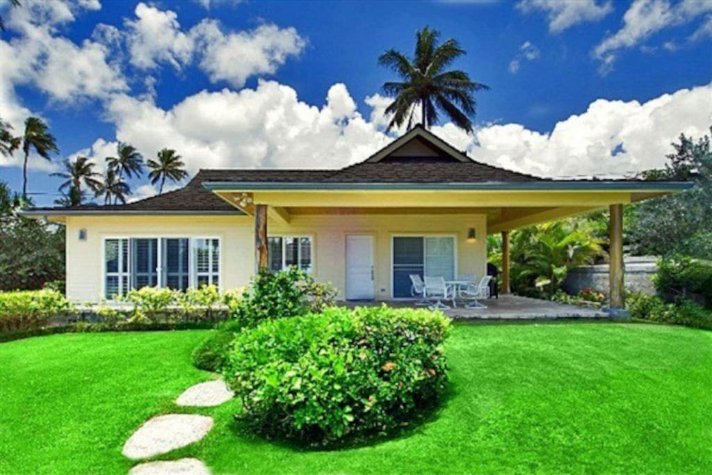 The two-bedroom, two bath vacation home on nearly an acre of beachfront land.
