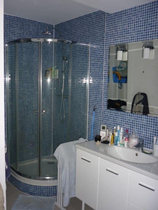 Salle de bain de 20m2 équipée d'une douche et d'une baignoire