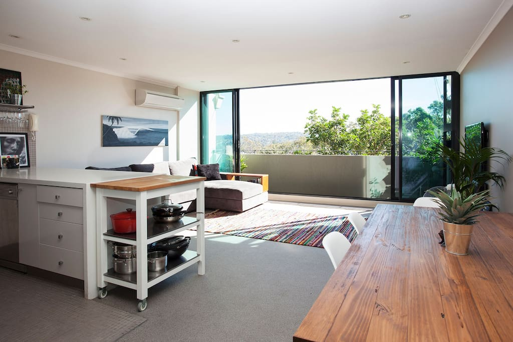 Open plan dining/living/balcony