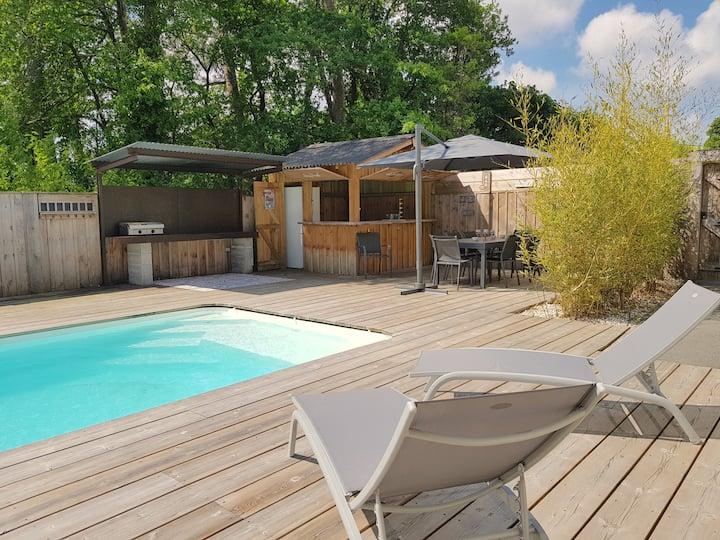 Adorable Villa esprit Bassin avec piscine chauffée