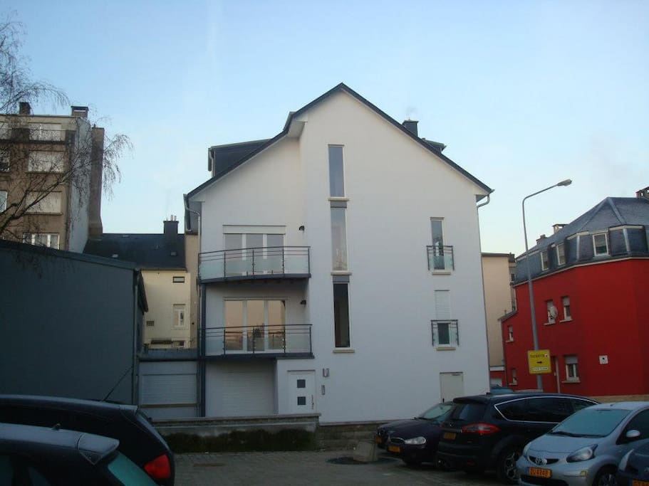 The room is located in the upper duplex of a small residence.