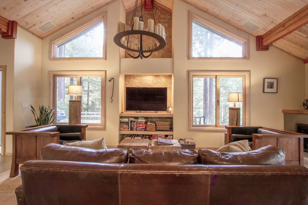 Relax and enjoy the company of friends and family in the open floor plan designer living room