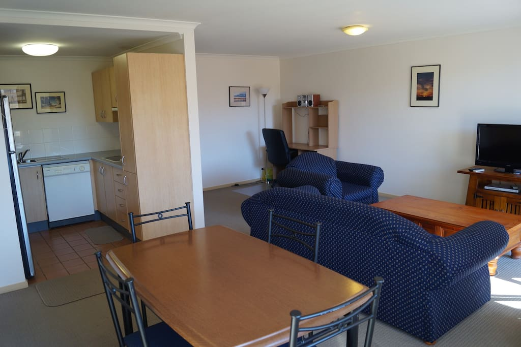 Full kitchen, study desk with WiFi and sunny balcony (to right)