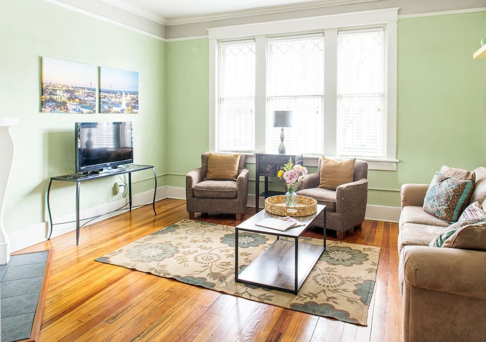 The living room receives great natural light.