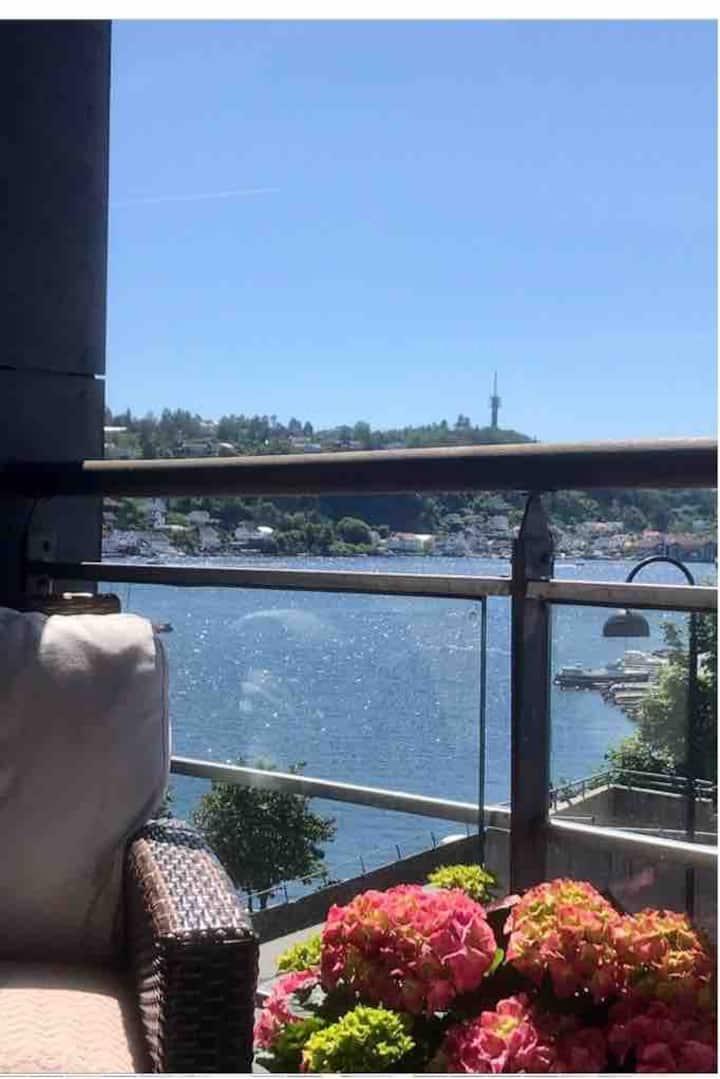 Leilighet midt i byen, balkong, fantastisk utsikt.