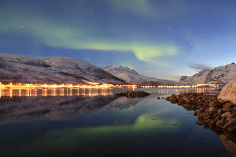 Kaldfjord, Tromsø, northern lights, midnight sun