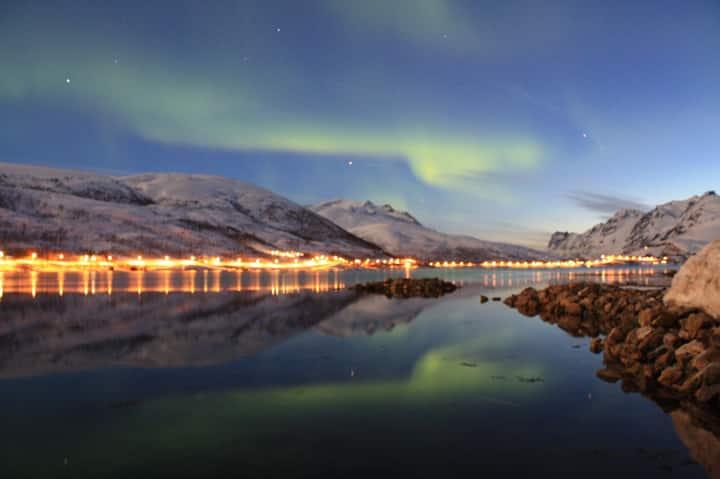 Kaldfjord, Tromsø, northern lights, midnight sun